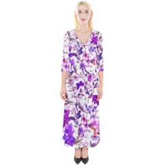 Ultra Violet,shabby Chic,flowers,floral,vintage,typography,beautiful Feminine,girly,pink,purple Quarter Sleeve Wrap Maxi Dress
