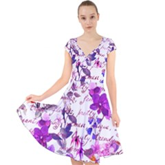 Ultra Violet,shabby Chic,flowers,floral,vintage,typography,beautiful Feminine,girly,pink,purple Cap Sleeve Front Wrap Midi Dress