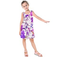 Ultra Violet,shabby Chic,flowers,floral,vintage,typography,beautiful Feminine,girly,pink,purple Kids  Sleeveless Dress
