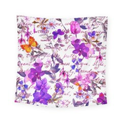 Ultra Violet,shabby Chic,flowers,floral,vintage,typography,beautiful Feminine,girly,pink,purple Square Tapestry (small)