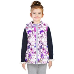 Ultra Violet,shabby Chic,flowers,floral,vintage,typography,beautiful Feminine,girly,pink,purple Kid s Puffer Vest