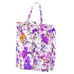 Ultra Violet,shabby Chic,flowers,floral,vintage,typography,beautiful Feminine,girly,pink,purple Giant Grocery Zipper Tote