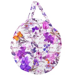 Ultra Violet,shabby Chic,flowers,floral,vintage,typography,beautiful Feminine,girly,pink,purple Giant Round Zipper Tote