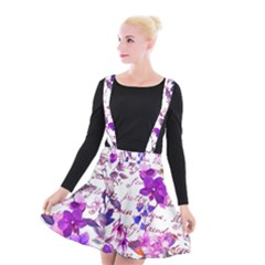 Ultra Violet,shabby Chic,flowers,floral,vintage,typography,beautiful Feminine,girly,pink,purple Suspender Skater Skirt