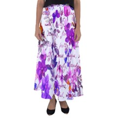 Ultra Violet,shabby Chic,flowers,floral,vintage,typography,beautiful Feminine,girly,pink,purple Flared Maxi Skirt