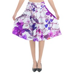 Ultra Violet,shabby Chic,flowers,floral,vintage,typography,beautiful Feminine,girly,pink,purple Flared Midi Skirt