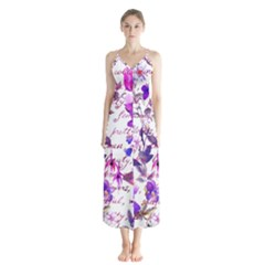 Ultra Violet,shabby Chic,flowers,floral,vintage,typography,beautiful Feminine,girly,pink,purple Button Up Chiffon Maxi Dress