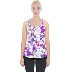 Ultra Violet,shabby Chic,flowers,floral,vintage,typography,beautiful Feminine,girly,pink,purple Piece Up Tank Top