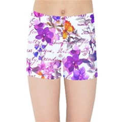 Ultra Violet,shabby Chic,flowers,floral,vintage,typography,beautiful Feminine,girly,pink,purple Kids Sports Shorts