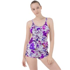 Ultra Violet,shabby Chic,flowers,floral,vintage,typography,beautiful Feminine,girly,pink,purple Boyleg Tankini Set