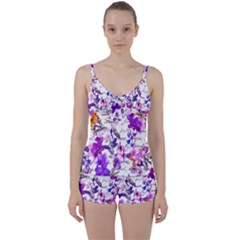Ultra Violet,shabby Chic,flowers,floral,vintage,typography,beautiful Feminine,girly,pink,purple Tie Front Two Piece Tankini