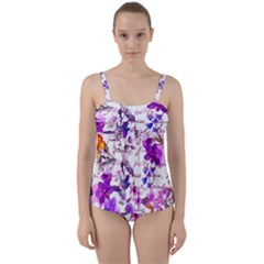 Ultra Violet,shabby Chic,flowers,floral,vintage,typography,beautiful Feminine,girly,pink,purple Twist Front Tankini Set