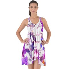 Ultra Violet,shabby Chic,flowers,floral,vintage,typography,beautiful Feminine,girly,pink,purple Show Some Back Chiffon Dress