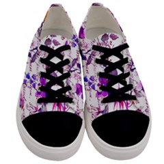 Ultra Violet,shabby Chic,flowers,floral,vintage,typography,beautiful Feminine,girly,pink,purple Men s Low Top Canvas Sneakers