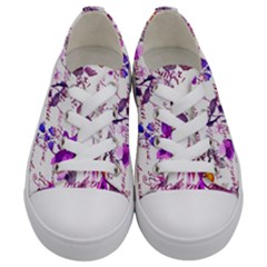 Ultra Violet,shabby Chic,flowers,floral,vintage,typography,beautiful Feminine,girly,pink,purple Kids  Low Top Canvas Sneakers