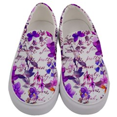 Ultra Violet,shabby Chic,flowers,floral,vintage,typography,beautiful Feminine,girly,pink,purple Men s Canvas Slip Ons