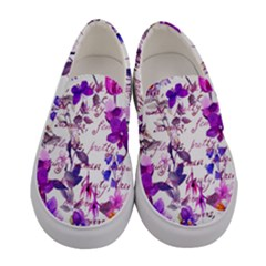 Ultra Violet,shabby Chic,flowers,floral,vintage,typography,beautiful Feminine,girly,pink,purple Women s Canvas Slip Ons