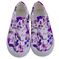 Ultra Violet,shabby Chic,flowers,floral,vintage,typography,beautiful Feminine,girly,pink,purple Kids  Canvas Slip Ons