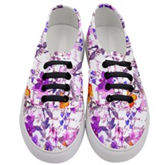 Ultra Violet,shabby Chic,flowers,floral,vintage,typography,beautiful Feminine,girly,pink,purple Women s Classic Low Top Sneakers