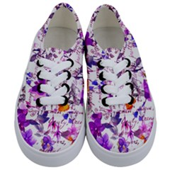 Ultra Violet,shabby Chic,flowers,floral,vintage,typography,beautiful Feminine,girly,pink,purple Kids  Classic Low Top Sneakers