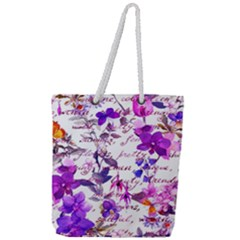 Ultra Violet,shabby Chic,flowers,floral,vintage,typography,beautiful Feminine,girly,pink,purple Full Print Rope Handle Tote (large)