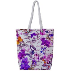 Ultra Violet,shabby Chic,flowers,floral,vintage,typography,beautiful Feminine,girly,pink,purple Full Print Rope Handle Tote (small)