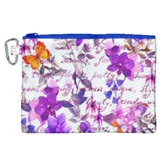 Ultra Violet,shabby Chic,flowers,floral,vintage,typography,beautiful Feminine,girly,pink,purple Canvas Cosmetic Bag (xl)