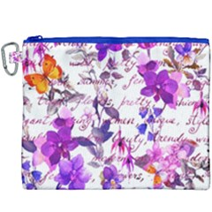 Ultra Violet,shabby Chic,flowers,floral,vintage,typography,beautiful Feminine,girly,pink,purple Canvas Cosmetic Bag (xxxl)