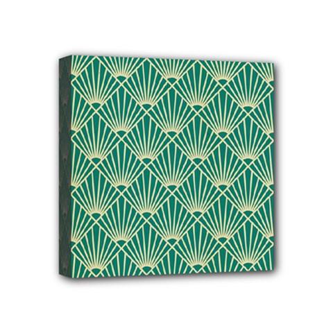 Teal,beige,art Nouveau,vintage,original,belle ¨|poque,fan Pattern,geometric,elegant,chic Mini Canvas 4  X 4