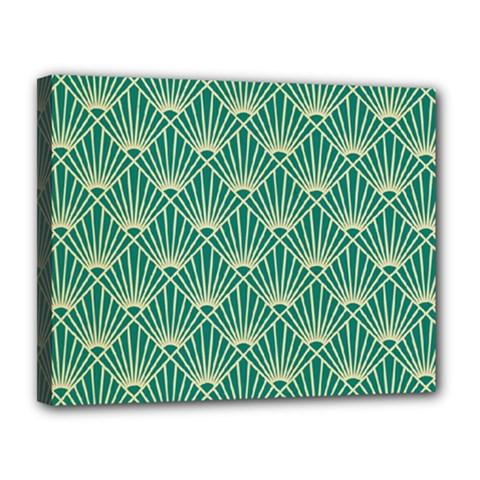 Teal,beige,art Nouveau,vintage,original,belle ¨|poque,fan Pattern,geometric,elegant,chic Canvas 14  X 11