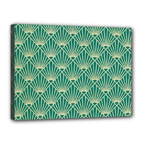 Teal,beige,art Nouveau,vintage,original,belle ¨|poque,fan Pattern,geometric,elegant,chic Canvas 16  X 12