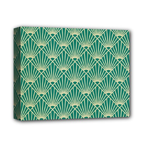 Teal,beige,art Nouveau,vintage,original,belle ¨|poque,fan Pattern,geometric,elegant,chic Deluxe Canvas 14  X 11
