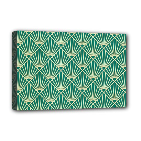 Teal,beige,art Nouveau,vintage,original,belle ¨|poque,fan Pattern,geometric,elegant,chic Deluxe Canvas 18  X 12