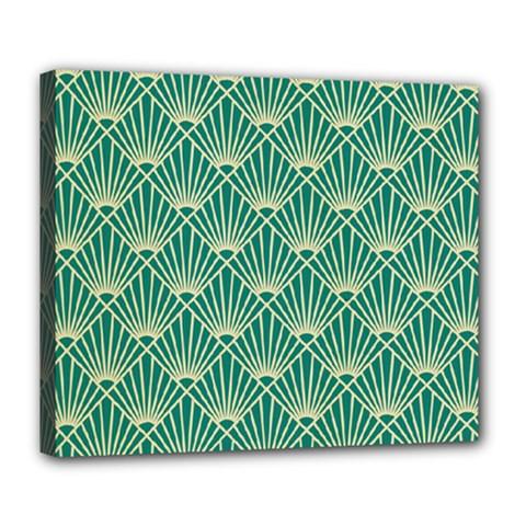 Teal,beige,art Nouveau,vintage,original,belle ¨|poque,fan Pattern,geometric,elegant,chic Deluxe Canvas 24  X 20
