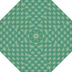 Teal,beige,art Nouveau,vintage,original,belle ¨|poque,fan Pattern,geometric,elegant,chic Hook Handle Umbrellas (large)