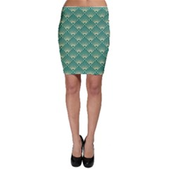 Teal,beige,art Nouveau,vintage,original,belle ¨|poque,fan Pattern,geometric,elegant,chic Bodycon Skirt