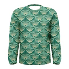 Teal,beige,art Nouveau,vintage,original,belle ¨|poque,fan Pattern,geometric,elegant,chic Men s Long Sleeve Tee