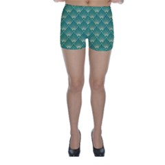 Teal,beige,art Nouveau,vintage,original,belle ¨|poque,fan Pattern,geometric,elegant,chic Skinny Shorts