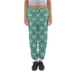 Teal,beige,art Nouveau,vintage,original,belle ¨|poque,fan Pattern,geometric,elegant,chic Women s Jogger Sweatpants