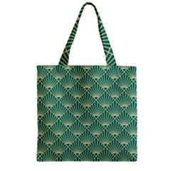 Teal,beige,art Nouveau,vintage,original,belle ¨|poque,fan Pattern,geometric,elegant,chic Zipper Grocery Tote Bag