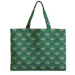 Teal,beige,art Nouveau,vintage,original,belle ¨|poque,fan Pattern,geometric,elegant,chic Zipper Mini Tote Bag