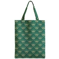Teal,beige,art Nouveau,vintage,original,belle ¨|poque,fan Pattern,geometric,elegant,chic Zipper Classic Tote Bag