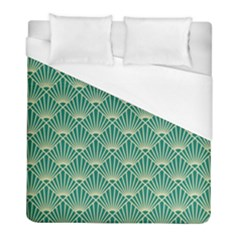Teal,beige,art Nouveau,vintage,original,belle ¨|poque,fan Pattern,geometric,elegant,chic Duvet Cover (full/ Double Size)
