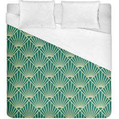 Teal,beige,art Nouveau,vintage,original,belle ¨|poque,fan Pattern,geometric,elegant,chic Duvet Cover (king Size)