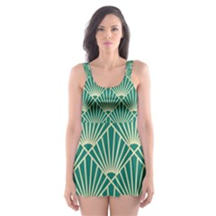 Teal,beige,art Nouveau,vintage,original,belle ¨|poque,fan Pattern,geometric,elegant,chic Skater Dress Swimsuit