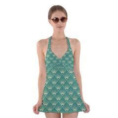 Teal,beige,art Nouveau,vintage,original,belle ¨|poque,fan Pattern,geometric,elegant,chic Halter Dress Swimsuit