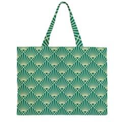 Teal,beige,art Nouveau,vintage,original,belle Époque,fan Pattern,geometric,elegant,chic Zipper Large Tote Bag