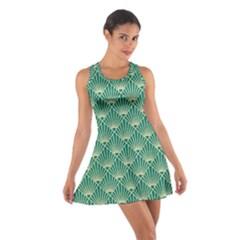 Teal,beige,art Nouveau,vintage,original,belle ¨|poque,fan Pattern,geometric,elegant,chic Cotton Racerback Dress