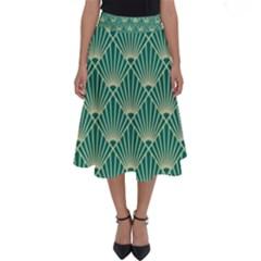 Teal,beige,art Nouveau,vintage,original,belle ¨|poque,fan Pattern,geometric,elegant,chic Perfect Length Midi Skirt