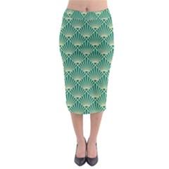 Teal,beige,art Nouveau,vintage,original,belle ¨ poque,fan Pattern,geometric,elegant,chic Midi Pencil Skirt